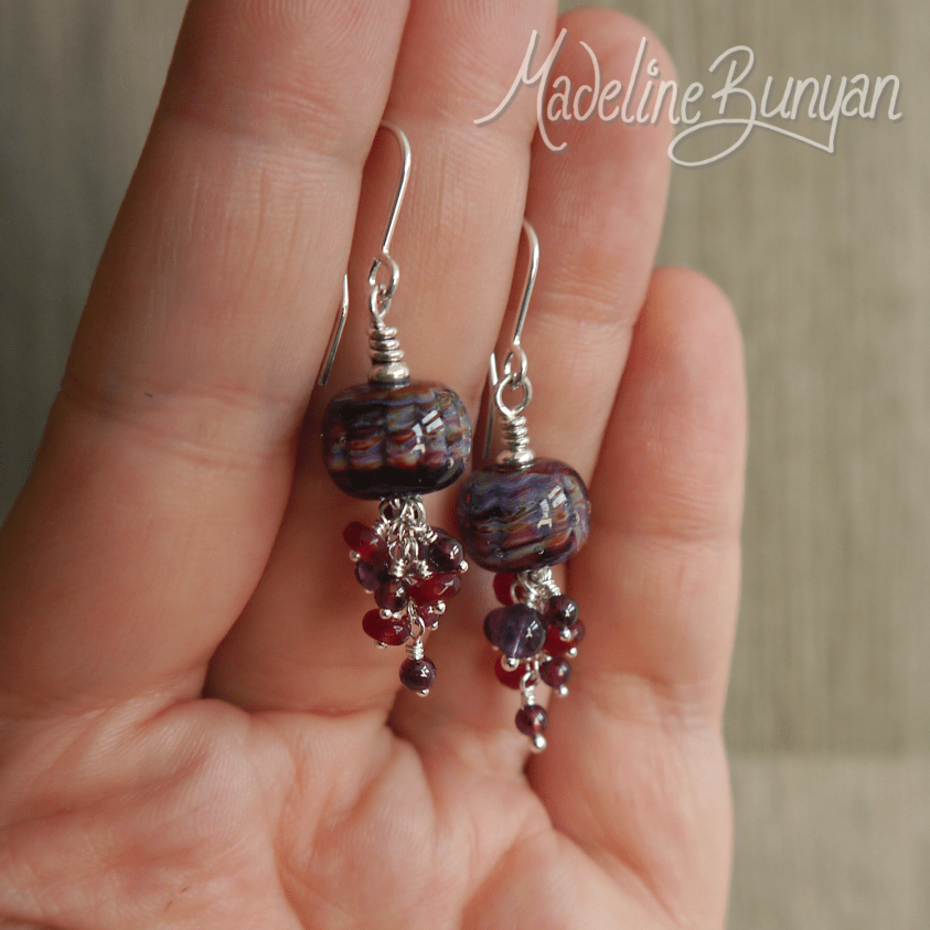Purple and Burgundy Lampwork and Gemstone Cluster Earrings with garnet and amethyst