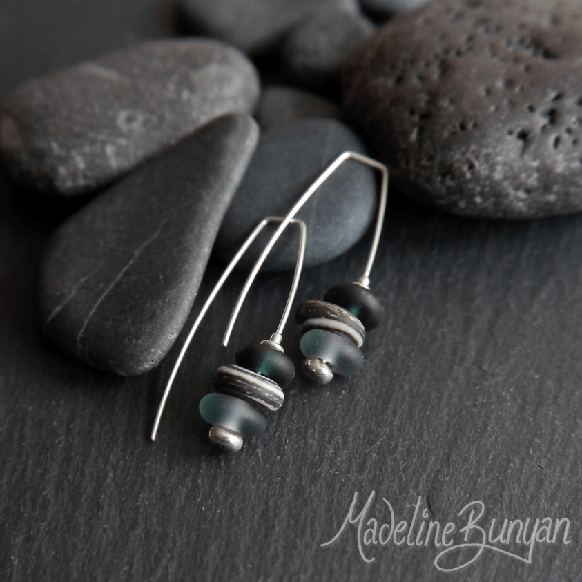 Glass Pebble Earrings, Grey, Sterling Silver, Hook - In Style