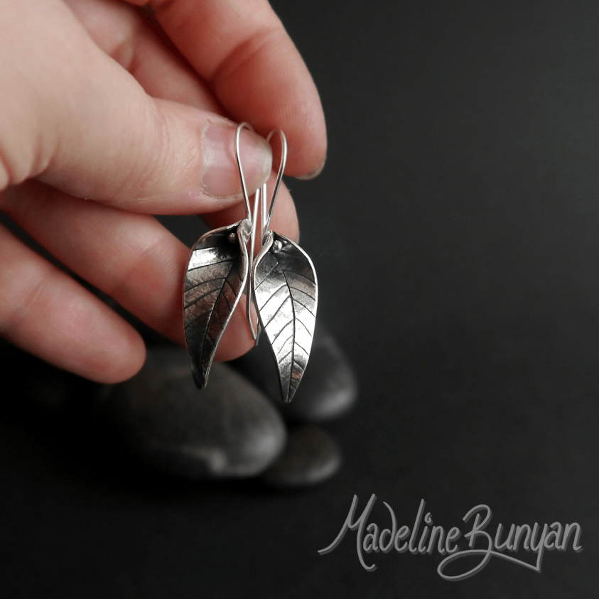Leaf Earrings, Sterling Silver, Hook-In , Large