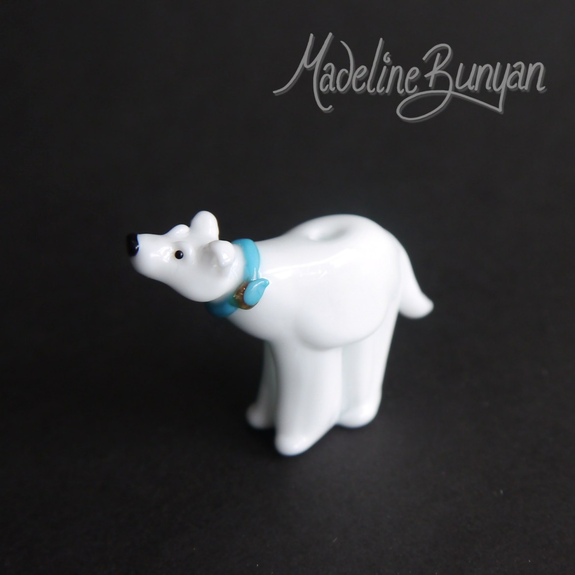 Reserved Custom Dog Bear - Turquoise blue collar, sculpted, Lampwork Bead Focal