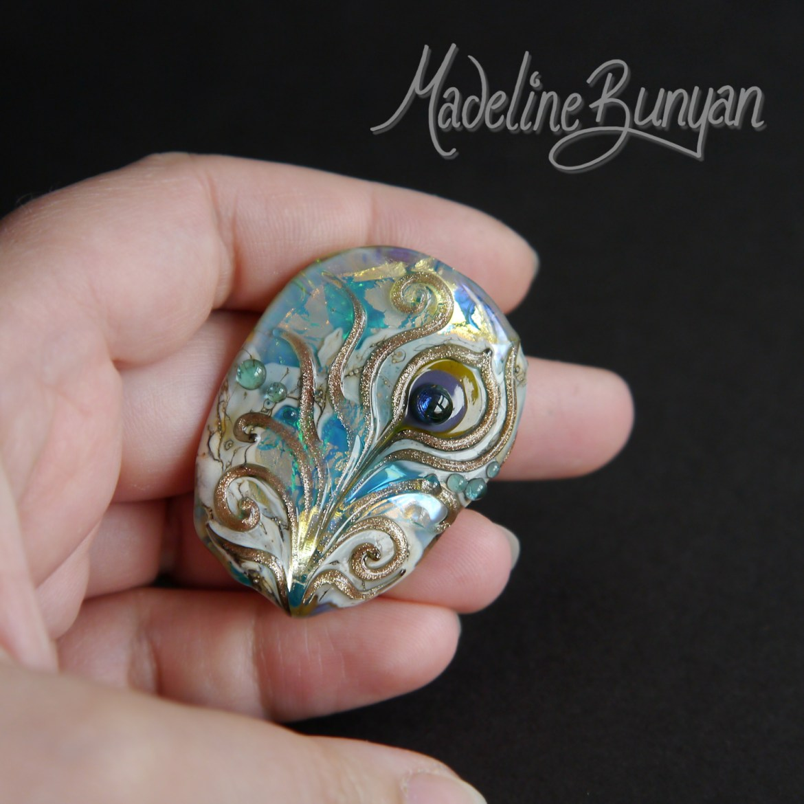 Peacock Feather Treasure Map, Turquoise and Gold, Lampwork Bead Focal, pendant bead