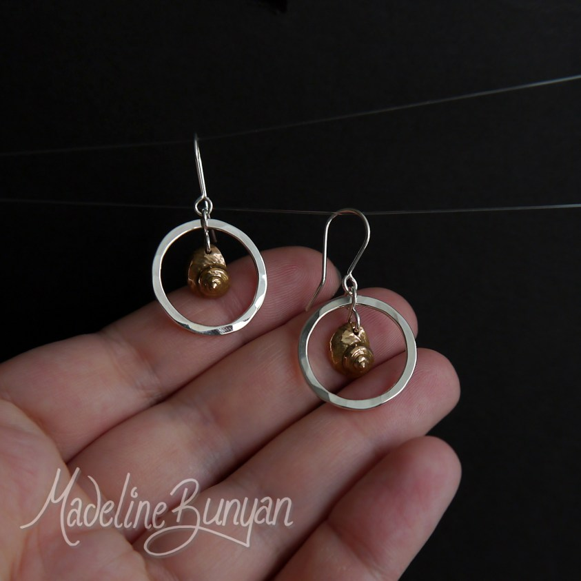 Silver Hoop and Bronze Sea Shell drop earrings Sterling Silver