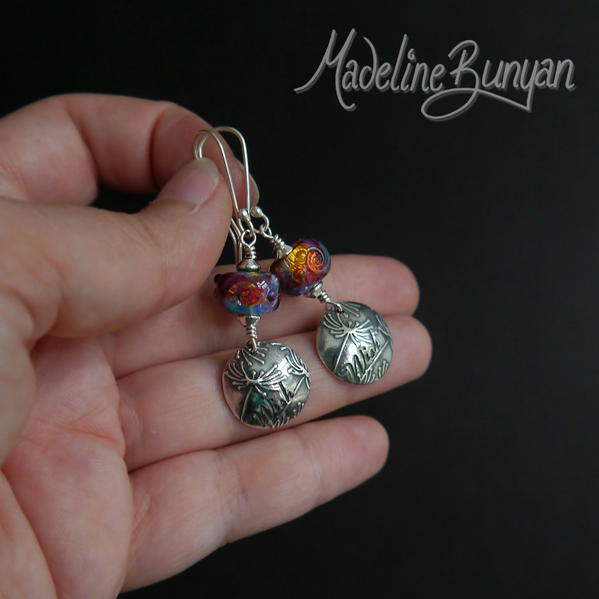 Rainbow Lampwork and Dandelion Wish disc drop earrings with Sterling Silver