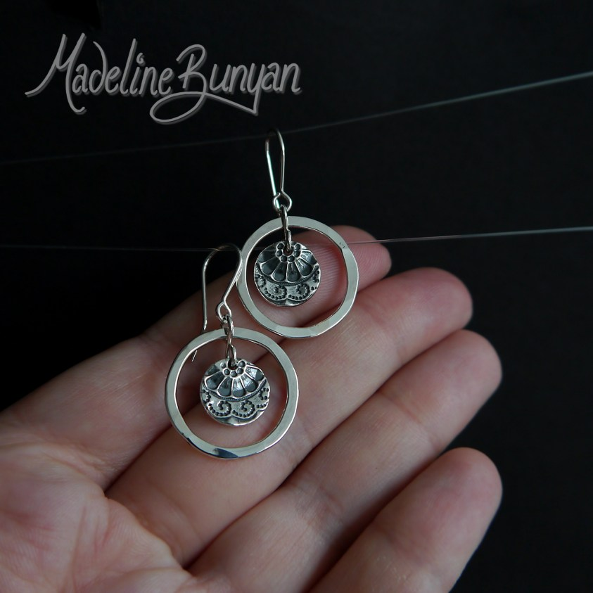 Silver Hoop and lacy disc drop earrings Sterling Silver