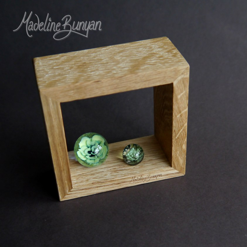 Everlasting Green Succulents - Framed Marble artwork, handmade glass Marble, Oak frame