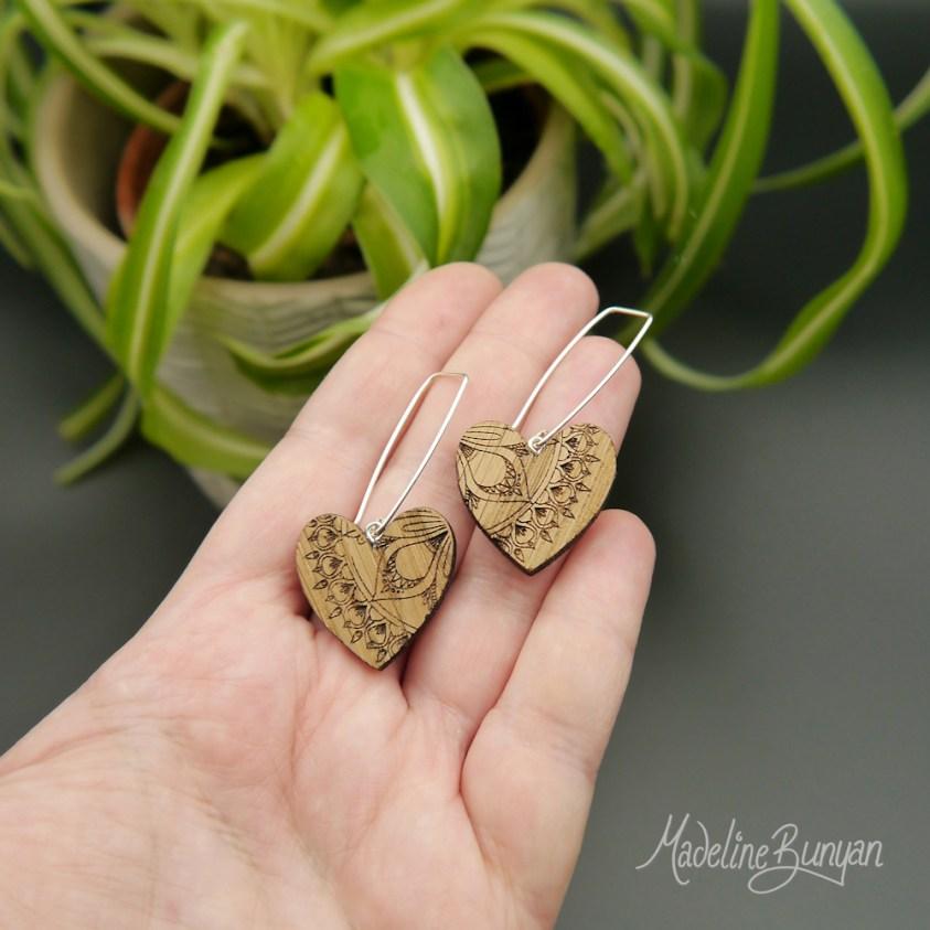 Wooden Heart Mandala Earrings, Sterling Silver and Oak Wooden Jewellery