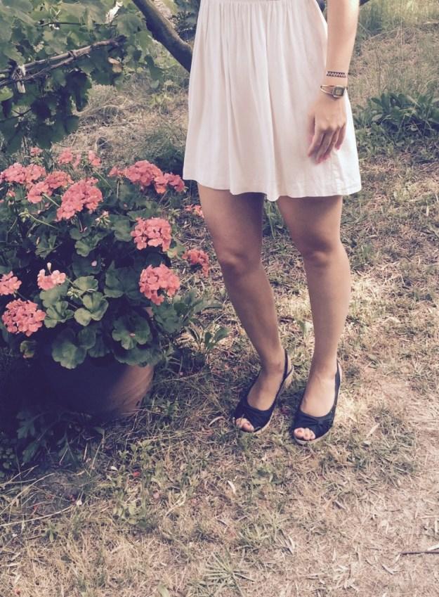 Robe blanche chaussures