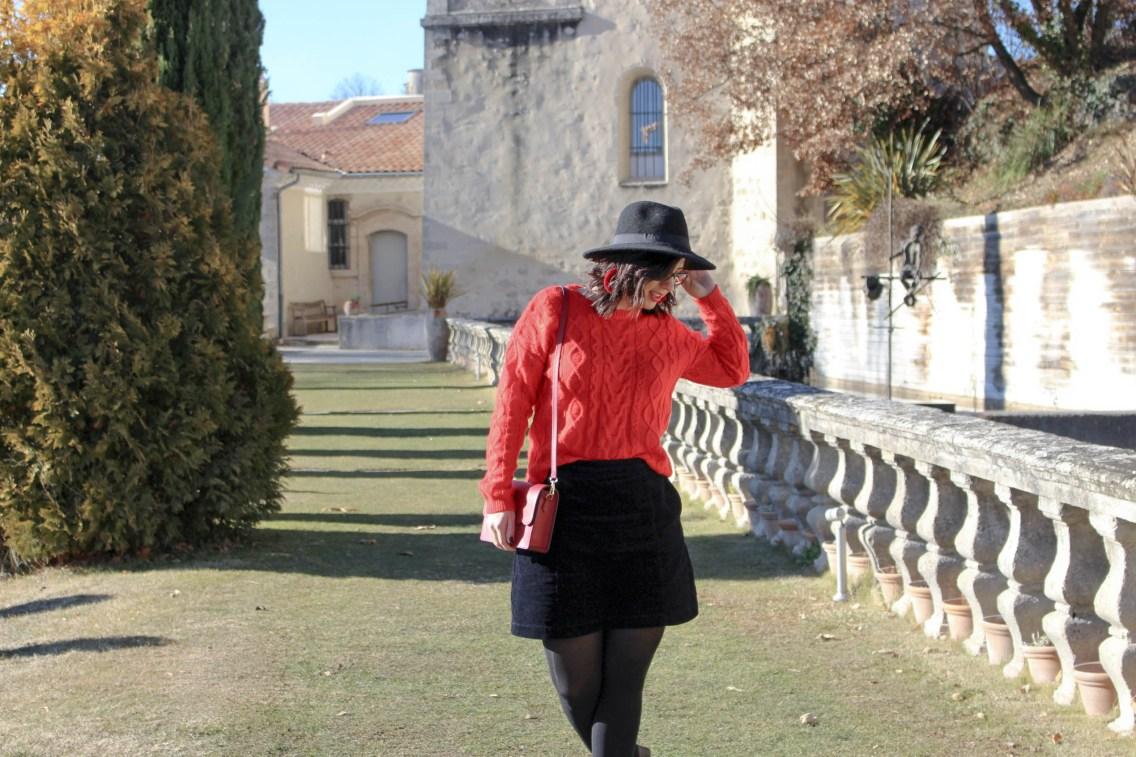 pull rouge torsade pimkie solde look hiver 3 mademoiselle e