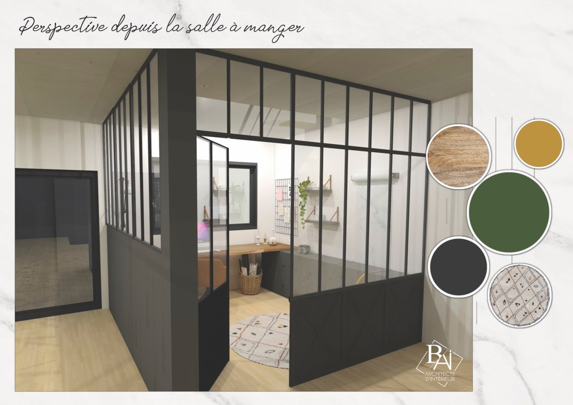 Idées aménagement bureau - Plan 3D 3 mademoiselle-e x bai_b_architecteinterieur