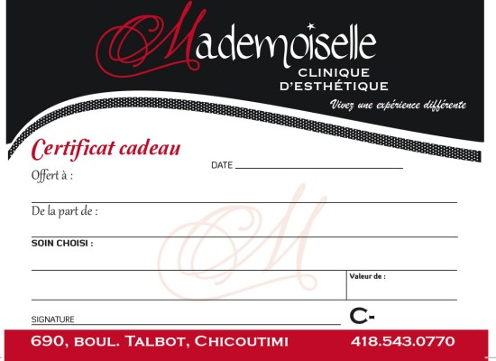 Certificat cadeaux Mademoiselle