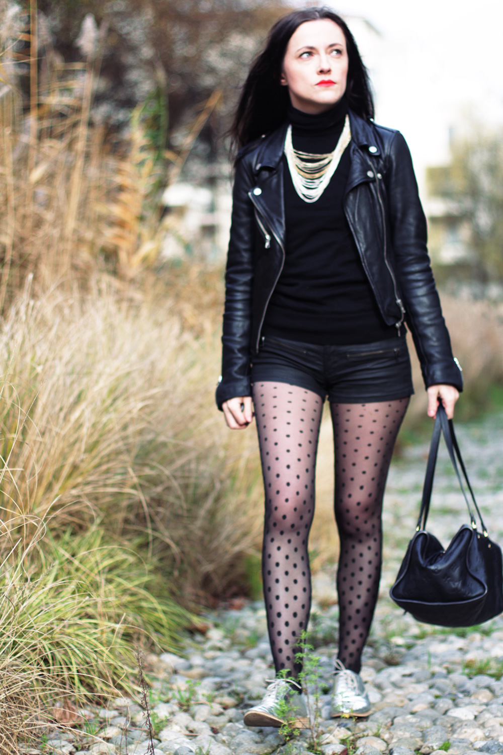 look leather dots