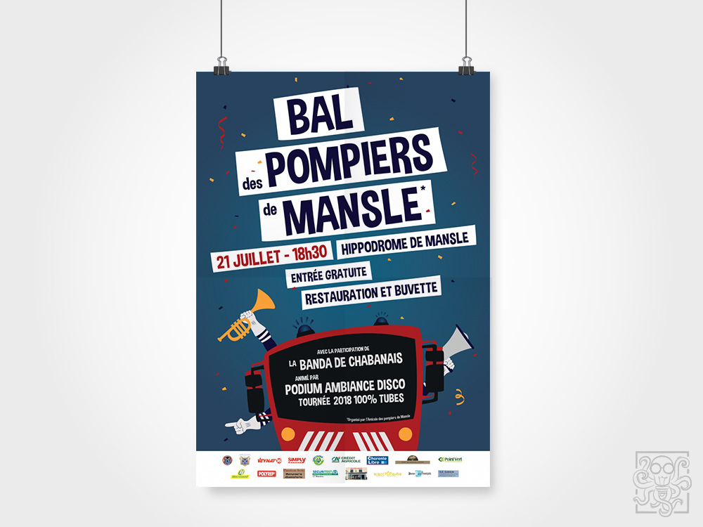 creation affiche bal des pompiers