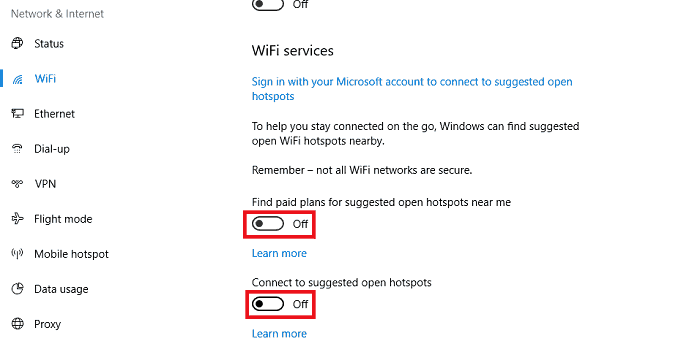 wifi hotspot disable