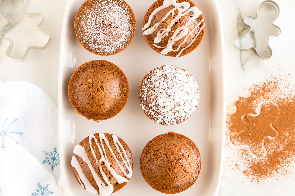 Gingerbread Muffins variety toppings