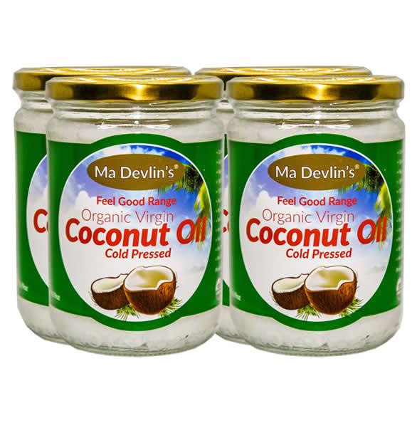 4-Pack - MaDevlins Organic Virgin Coconut Oil 500ml