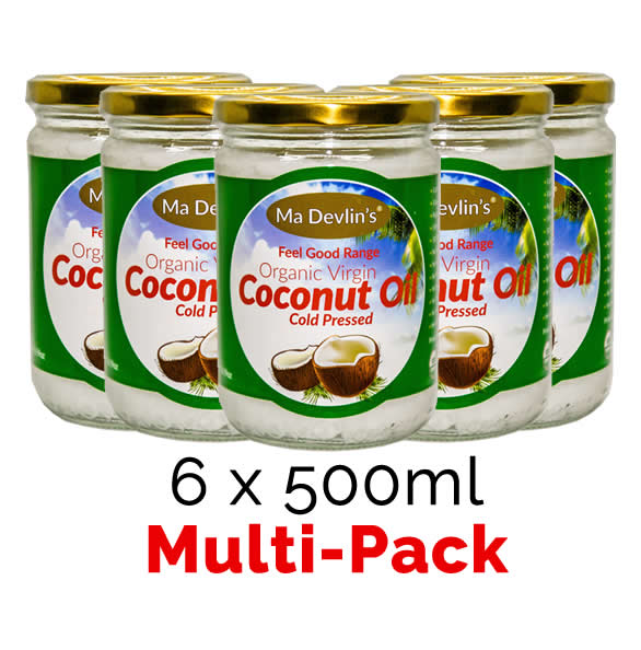 6-Pack - MaDevlins Organic Virgin Coconut Oil 500ml