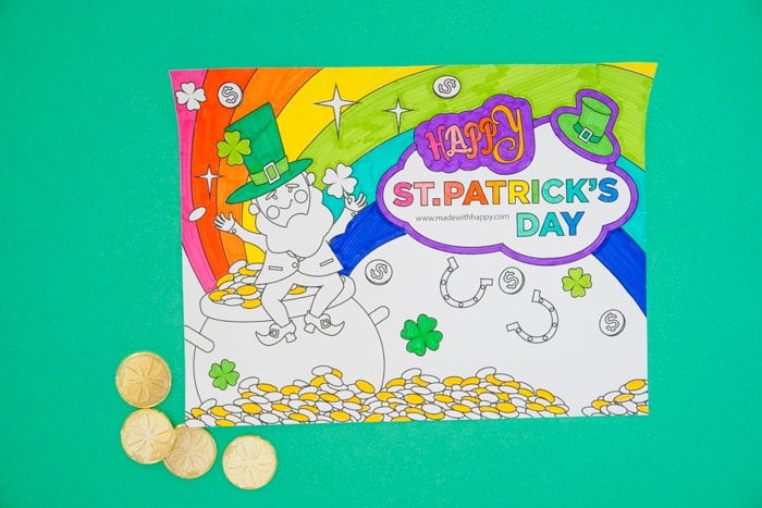 Free Printable Leprechaun Coloring Page Made With Happy
