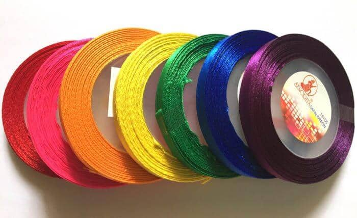 Rainbow Satin Ribbon | Rainbow Craft Supplies | Colorful Kids Crafts | All the craft supplies you need to keep you and your kids occupied for hours and hours. | Rainbow Popsicles, Rainbow Cupcake Wrappers, Rainbow Pom poms and more | www.madewithhappy.com