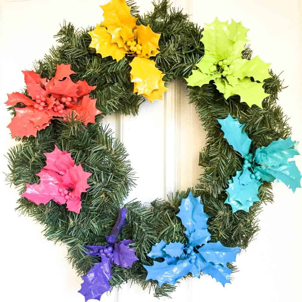 rainbow holly wreath made with happy