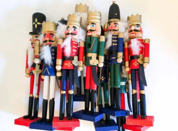 Dollar Store Nutcrackers | Rainbow Nutcrackers | Spray Painted Nutcrackers | Rainbow Christmas Decorations | Spray Painted Christmas Decorations | www.madewithhappy.com