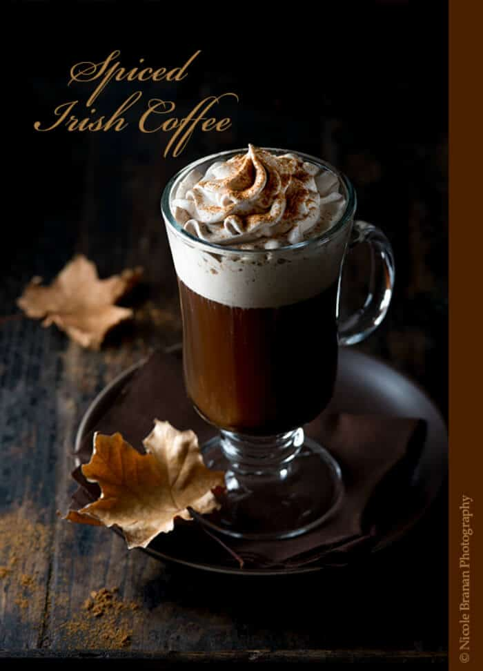 Spiced Irish Coffee | 20+ Fall Cocktail Recipes | Holiday Entertaining with Fall Recipes | Pumpkin, apple and cinnamon cocktails | www.madewithHAPPY.com