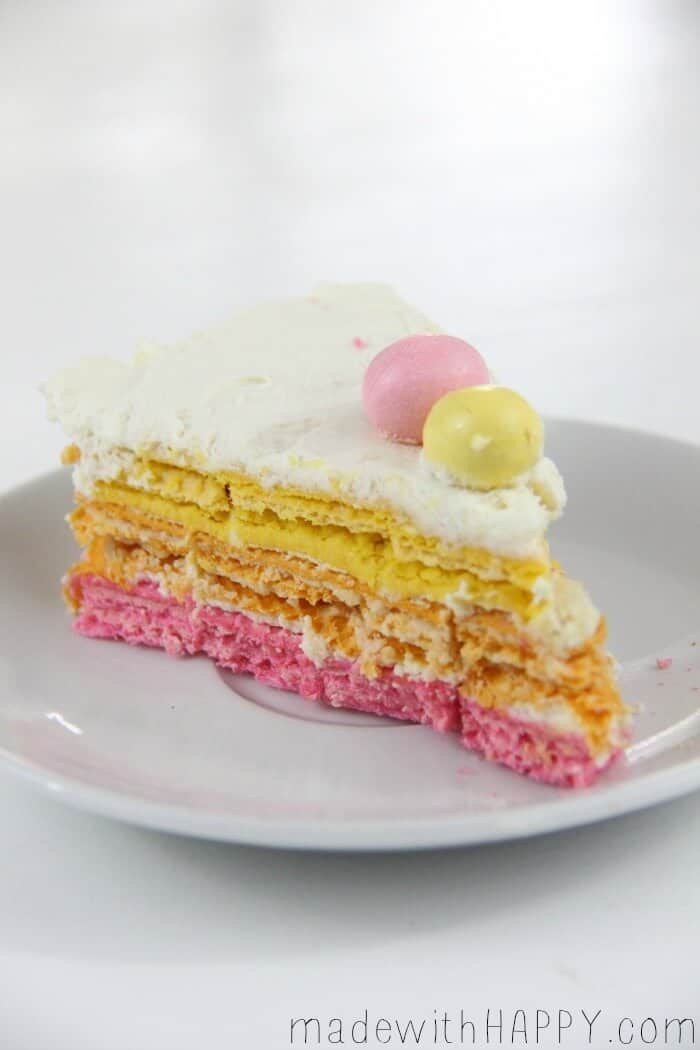 Spring Rainbow Icebox Cake | Easter Dessert | Bright Colored Icebox Cake | Cream Cheese Cake | www.madewithHAPPY.com