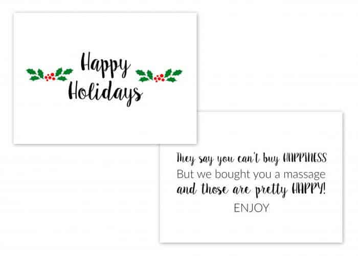The Perfect Last Minute Gift | Gift of Massage | Free Printable Holiday Card for a massage | Massages are pretty HAPPY | Massage Quote | www.madewithhappy.com