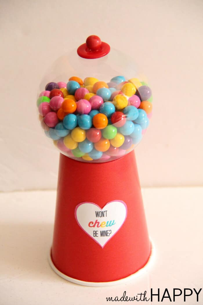 DIY Gumball Valentines Free Printable Made With HAPPY