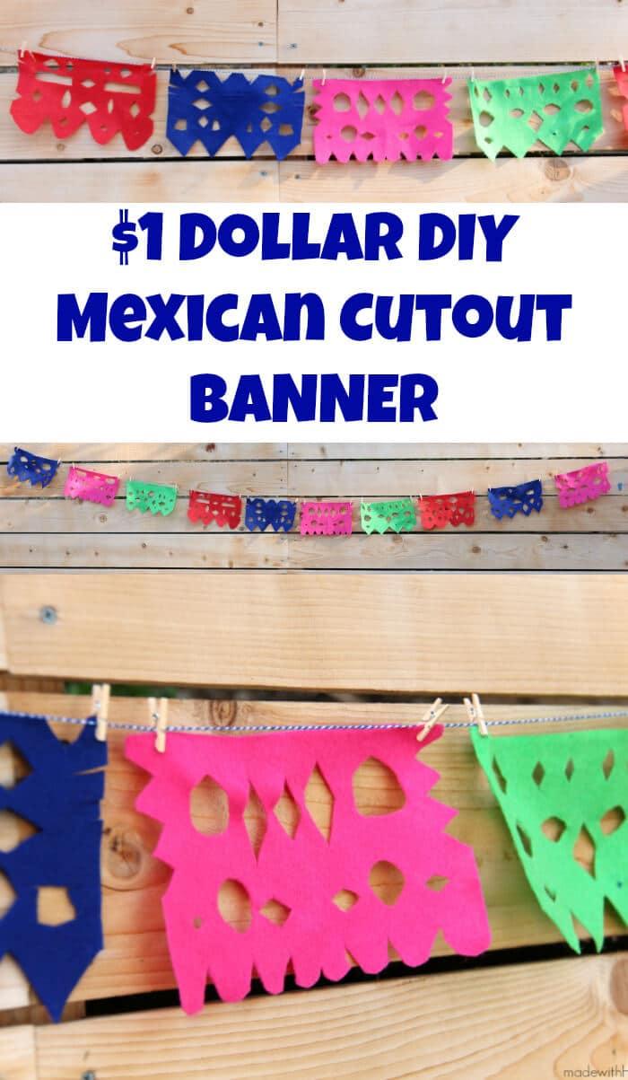 DIY Papel Picado | Felt Papel Picado | DIY Mexican Cutout Banner | Cinco De Mayo Decorations | Fiesta Decorations | Homemade Party Decorations Mexican Fiesta | www.madewithhappy.com