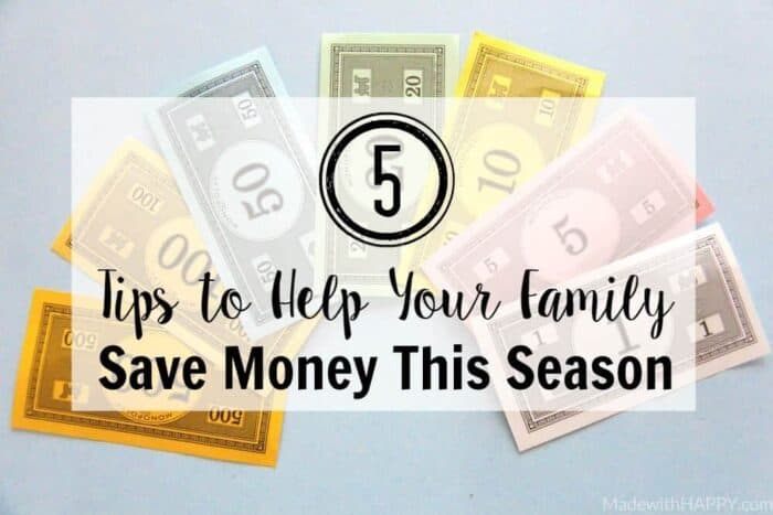 Monopoly Cash | Colorful Money | 5 Tips to Help Your Family Save Money This Season | www.madewithhappy.com