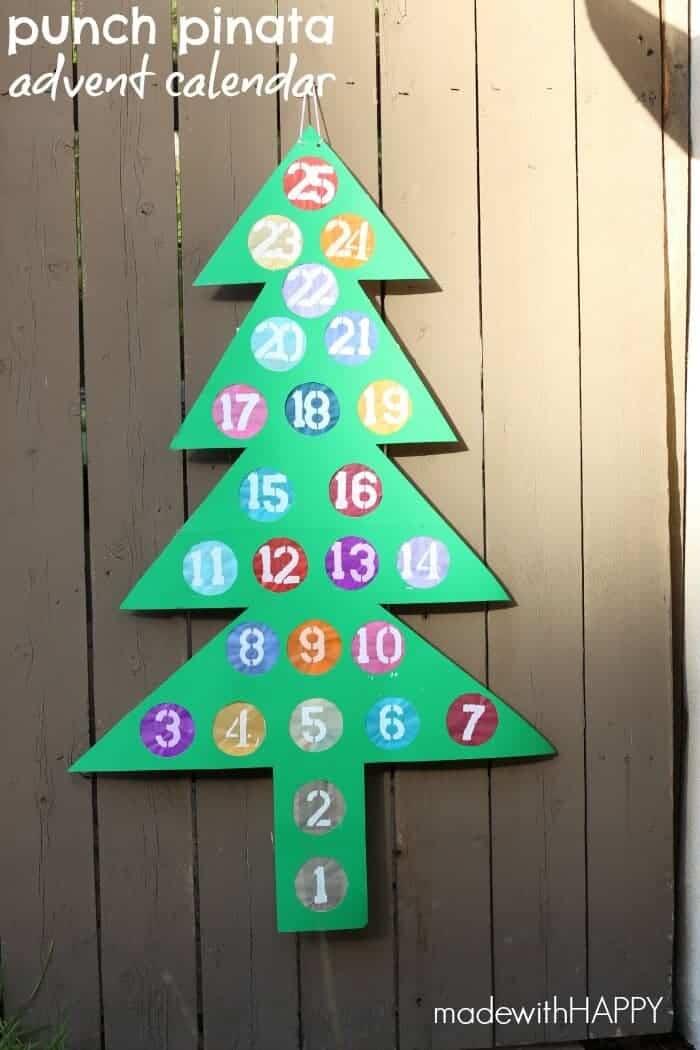 DIY Punch Piñata Advent Calendar Made With HAPPY - Christmas Tree Pinata
