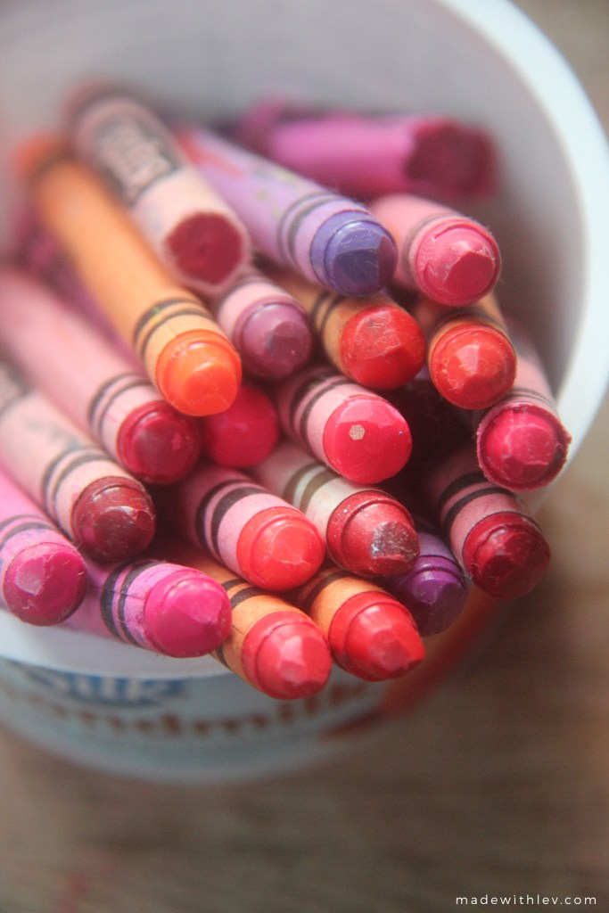 A pot of crayons for making crayon lip gloss.