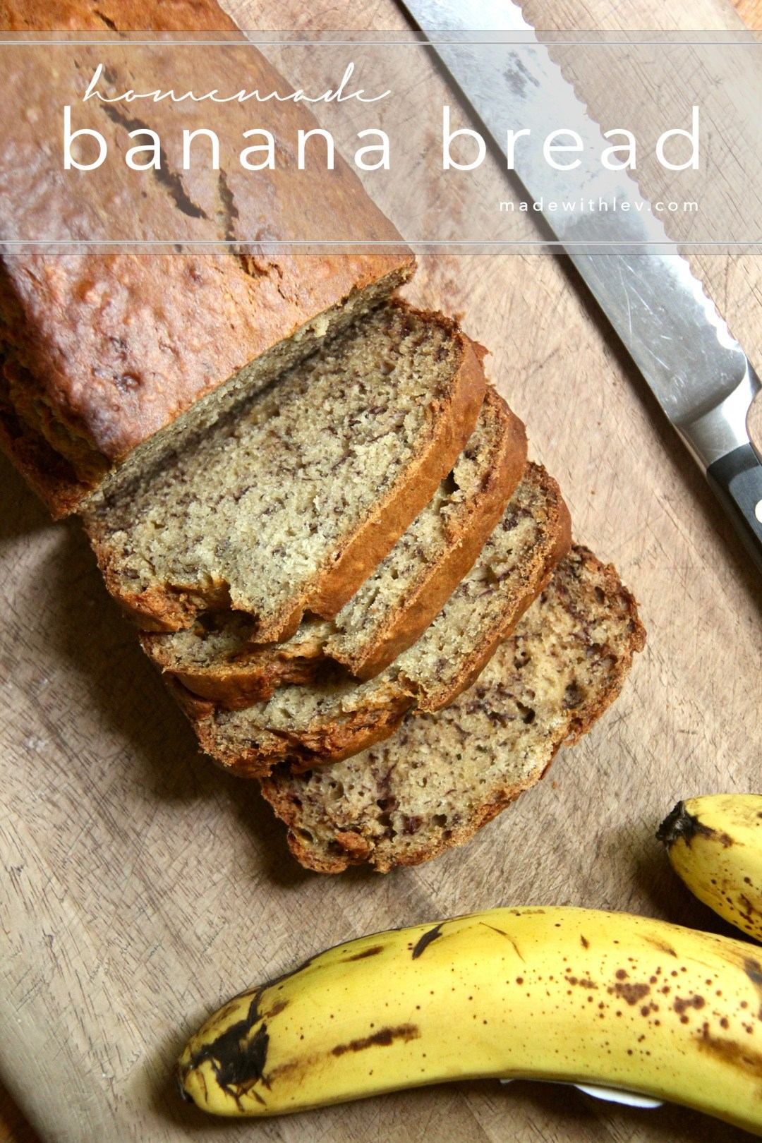 Homemade Banana Bread: Use up all of your overripe bananas AND impress all your friends with this super moist and delicious (dairy-free) banana bread.#bananabread #sweetbread #dairyfree #dairyfreetreats #cookingwithkids #easybananabread