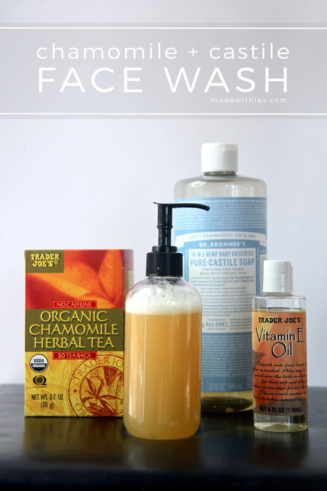 Chamomile + Castile Face Wash: This gentle and calming face wash is made with simple ingredients like chamomile tea, Castile soap, vitamin E oil, and essential oils.