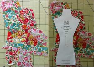 Liberty Scraps Sewn Together and Pattern Fit