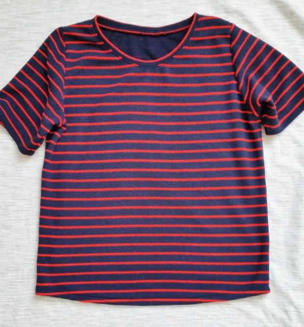 Mad For Fabric - Navy and Red Striped Knit Top