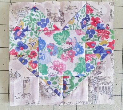Mad For Fabric Mini Heart Quilt Block Sewn Together