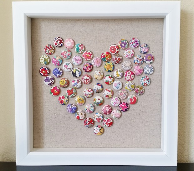 Mad For Fabric. DIY Fabric Button Push Pin Art tutorial. Liberty Hello Kitty fabric push pins