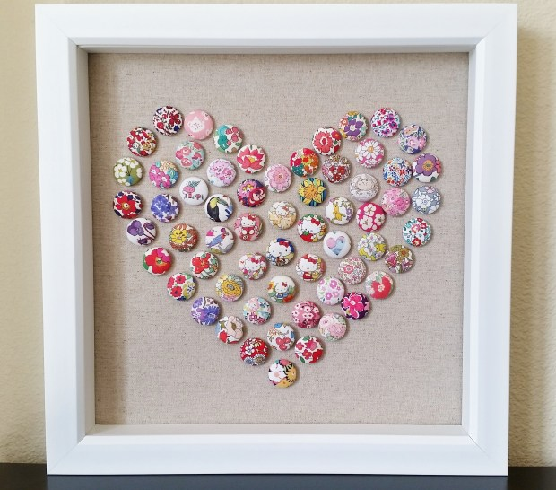 Mad For Fabric - DIY Fabric Button Push Pin Heart Art