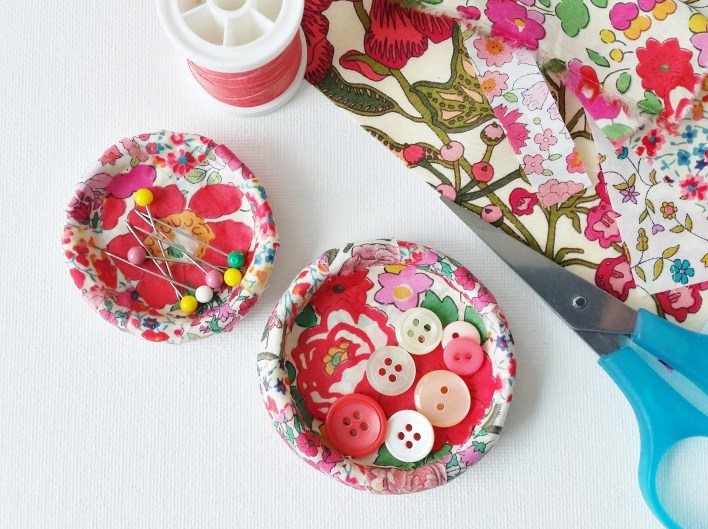 Mad For Fabric - DIY Fabric Covered Air Dry Porcelain Clay Dish