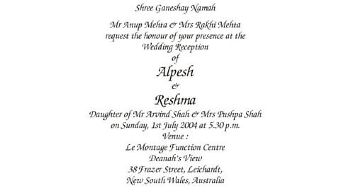 Reception Ceremony Wordings
