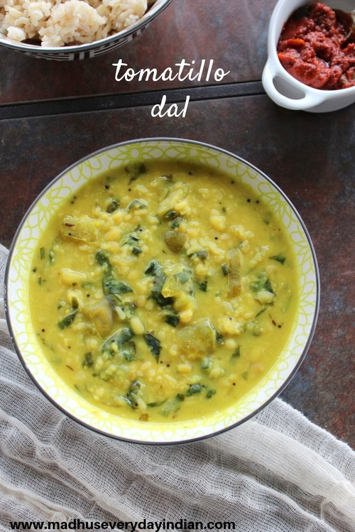 tomatiloo dal is a tasty dal made with moong dal and tomatillo.