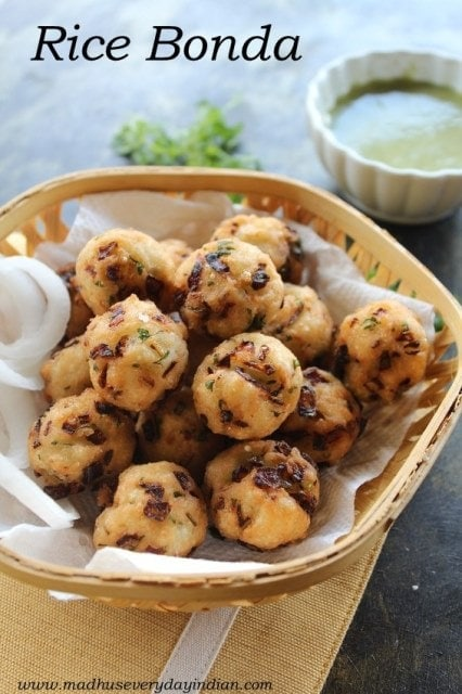 rice bonda or rice pakoda made with left over rice as evening snack