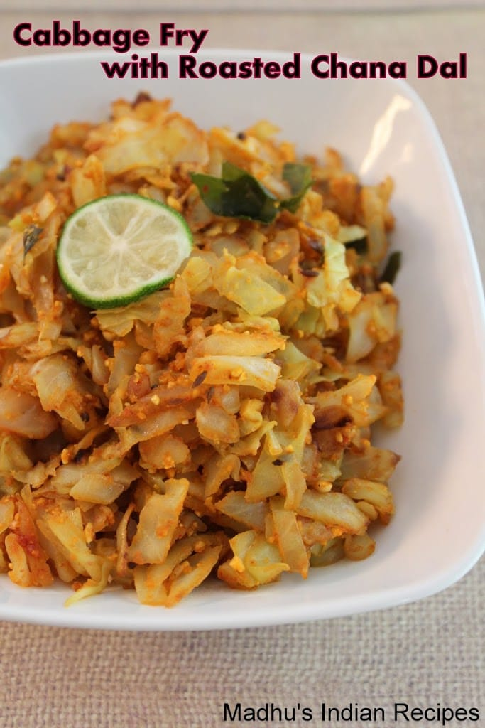 Cabbage Fry with Roasted Chana dal Powder | Indian Dry Curry's