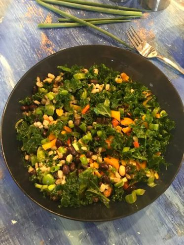 barley, kale and blackbean salad
