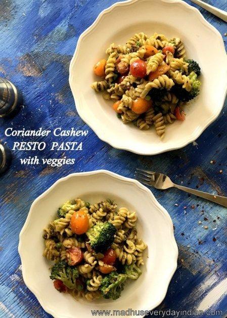coriander cashew pesto pasta with veggies
