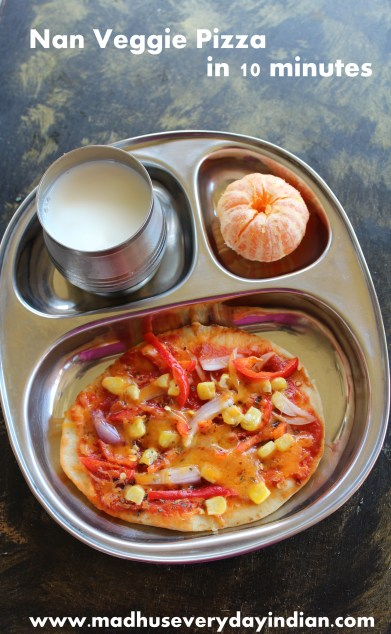 nan veggie pixxa for kids after svhool snack. Done in 10 minutes.#kidssnack #afterschoolsnack #madhuseverydayindian #nanpizza #pizza