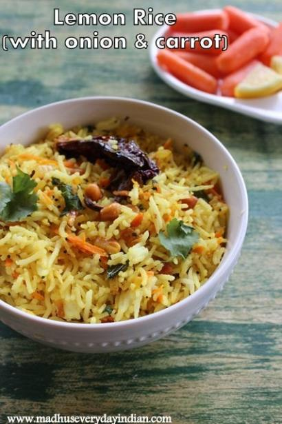 lemon rice with onion and carrot is a easy lunch box recipe