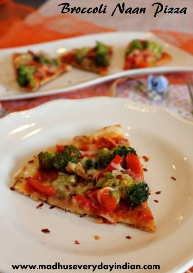 broccoli naan pizza