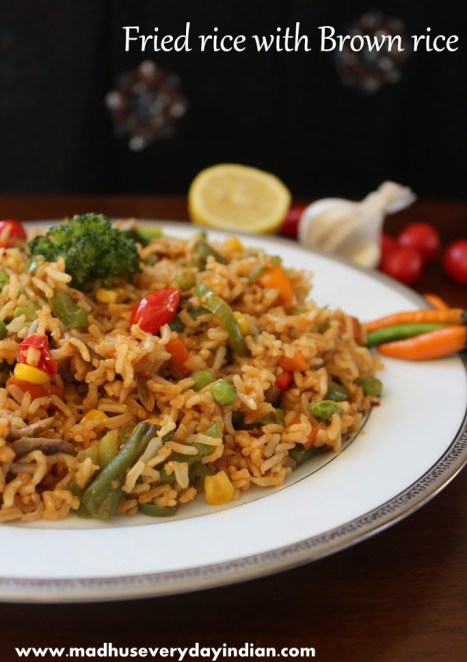 fried rice made with veggies and brown rice
